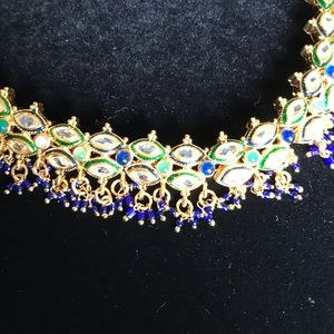 Indian beautiful blue & green necklace earring set